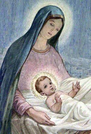 Mary with the Christ-child. From a painting in the Shepherd's Field's chapel in Bethlehem.